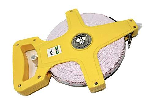 HKB ® 1 Stück Maßband, 50 Meter Bandmaß mit Fiberglasband, Kunststoff gelb mit ergonomischem Handgriff, ausklappbare Kurbel, 2 Skalen: Meter und Feet, Hersteller HKB, Artikel-Nr. 50773
