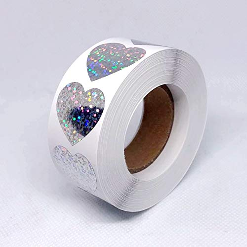 Laser Heart Stationery Stickers 1'' Round Paper Adhesive Stickers Scrapbooking Party Handmade Seal Label Stickers 500pcs