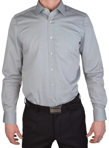 Olymp Herren Hemd Level 5 Body Fit Langarm, Silber, 44