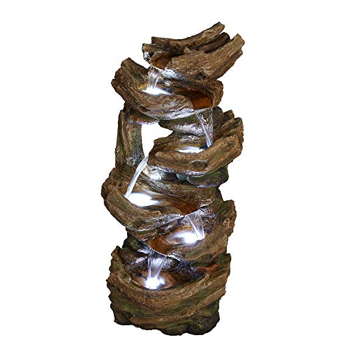 """Brafab Indoor Outdoor 41.34""""H 6-Tier Rock Floor Standing Fountain Water Fall with 5-White-LED Lights"""