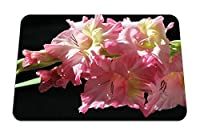 26cmx21cm マウスパッド (グラジオラスの花ピンクの柔らかい黒の背景) パターンカスタムの マウスパッド