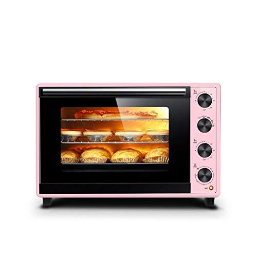 HIZLJJ Elektroofen Mini Haushalt Backen Multifunktions-Toaster Backofen Herd for Brot, Bagels, Kekse, Pizza mit Backblech Rack, automatische Abschaltfunktion (Color : Pink)