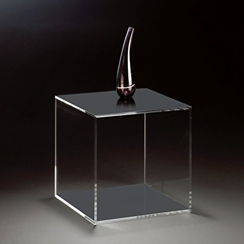 HOWE-Deko Hochwertiger Acryl-Glas Würfel/Beistelltisch, klar/dunkelgrau, 35 x 35 cm, H 35 cm, Acryl-Glas-Stärke 8 mm