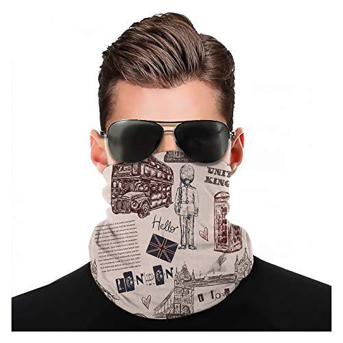 Yeuss Modern Fabric von Kopftuch, London Vereinigtes Königreich Island Print mit Stadtschildern Bus Bridge Artwork Print, Sportkopfbedeckung Gesichtsmaske Staubmundabdeckung Modemuster Kopftuch