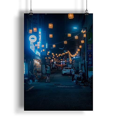 INNOGLEN Straßenlaternen in Einer asiatischen Stadt A0 A1 A2 A3 A4 Satin Foto Plakat a1694h