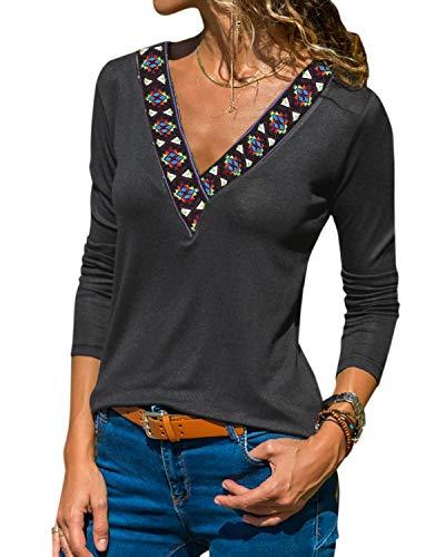 YOINS Sexy Oberteil Damen Langarm Pullover Damen sexy Winter Herbst Pullover Langarmshirt Sweatshirt Stickerei Oberteile Farbverlauf Colorblock Bluse Dunkelgrau L