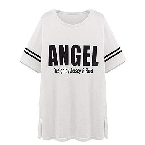 NOBRAND - Camiseta de manga corta para mujer, talla grande, suelta, de manga corta Blanco blanco XXXXL