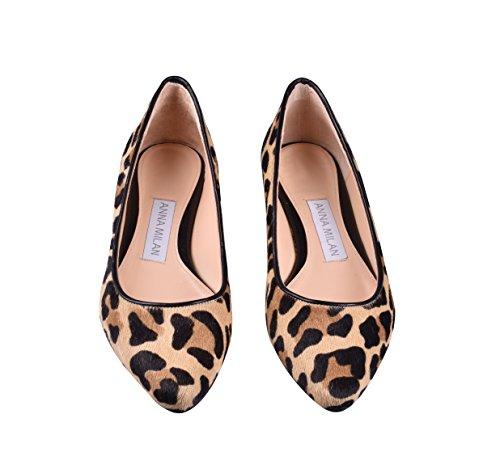 ANNA MILAN Bailarinas De Piel De Potro En Animal Print de Leopardo/Cebra