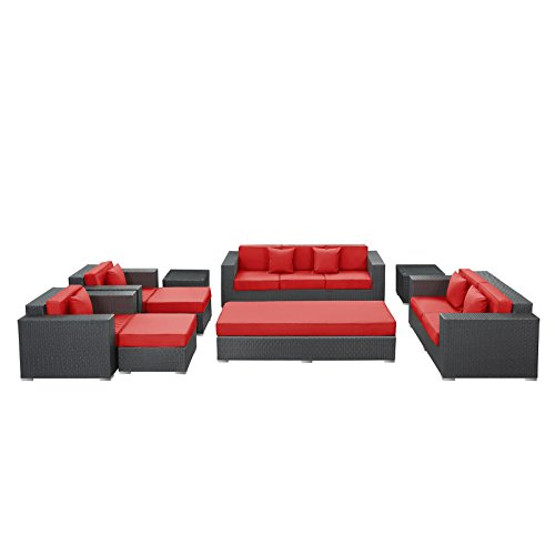 Big Sale LexMod Eclipse 9-Piece Outdoor Rattan, Espresso with Red Cushions