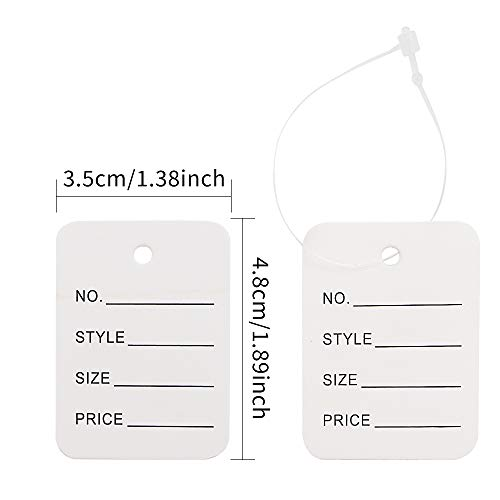 WYKOO 1000 Pieces Price Tags, Making Tag White Store Tags Clothing Tags Clothes Size Tags Coupon Tags with 1000 Pcs Plastic Tag Fastener, 1.9 x 1.4 Inch Photo #3