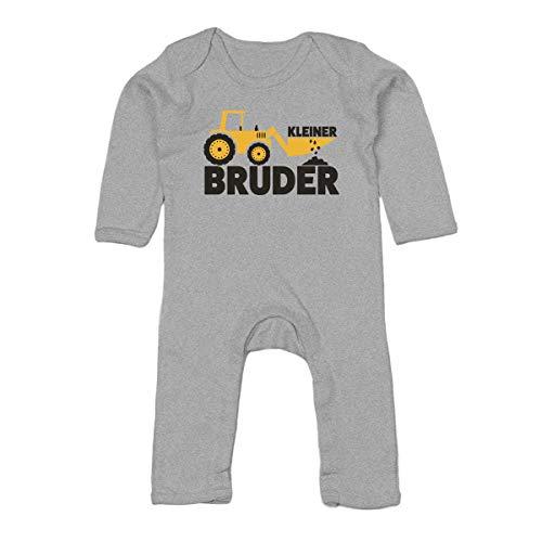 Shirtgeil Kleiner Bruder Bagger Traktor Baby Strampler Strampelanzug 3-6 Monate (62/68) Grau