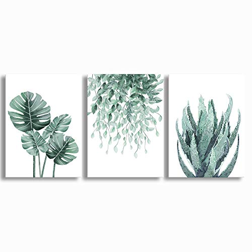 """Green Canvas Wall Art for Living Room Bedroom, Monstera Shallow Green Leaf Tropical Succulent Plant Picture Canvas Prints,Modern Framed Minimalist Water Color Set of 3 Piece 12"""" X 16"""""""