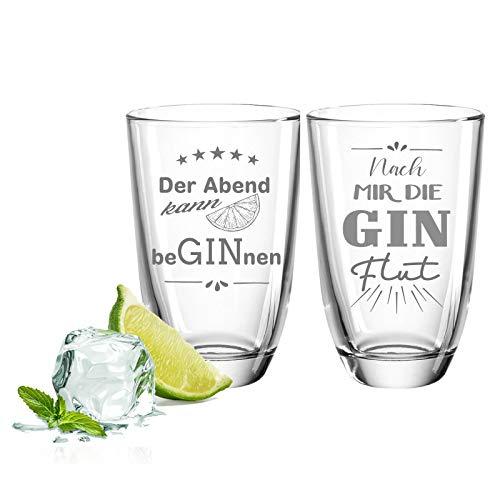 FORYOU24 2er Set Gin-Gläser - Ginflut & Der Abend - Geschenk für Gute Freunde & Partner - Gin-Geschenkset + Gin-Tonic