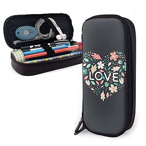 Love Shape con flores y hojas Estuche de cuero para lápices, gran capacidad, duradero, con cremallera, estuche para lápices, maquillaje, cosméticos, útiles escolares, papelería