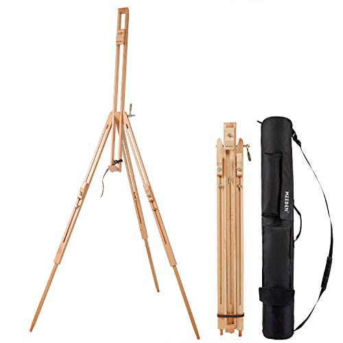 MEEDEN Tripod Field Painting Easel with Carrying Case - Solid Beech Wood Universal Tripod Easel Portable Painting Artist Easel, Perfect for Painters Students, Landscape Artists, Hold Canvas up to 42'