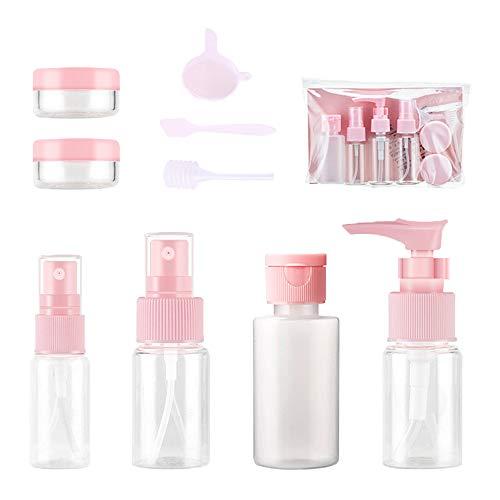 Reisflessen Set, Hnmedia 10 STKS Air Reisflessen Toiletten Vloeibare Containers met Duidelijke Opbergzakken voor Cosmetische, Make-up Samples, Shampoo, Parfum, enz