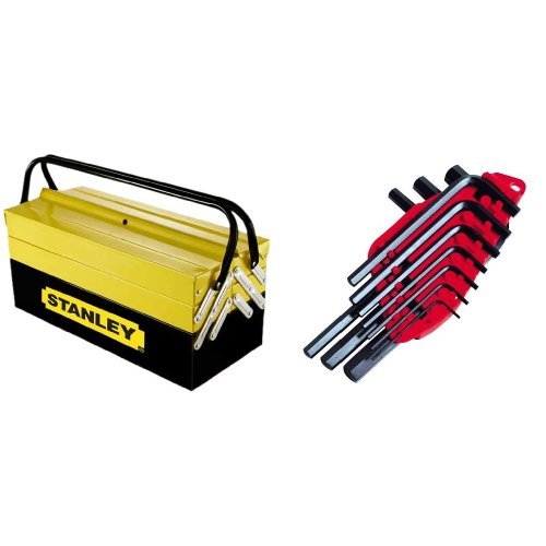 Stanley 94-738 - Caja de herramientas (Negro, Amarillo, Metal, 45 cm, 20.8 cm, 20.8 cm) + 0-69-253 - Juego 10 llaves 1,5-10mm - o libro -