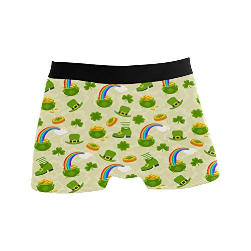 N\O Herren Boxershorts, Unterwäsche, atmungsaktiv, dehnbar, Badehose, Geschenk für Jugendliche und Jungen, Saint Patrick-Day-Leprechaun-Muster - - Large
