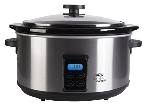Wahl ZX929 James Martin Digital Slow Cooker 4.7 Litre Ceramic Pot, Programmable, LCD Digital Timer, 2 Heat Settings, Glass Lid, Brushed Stainless Steel, 6.42 Kg