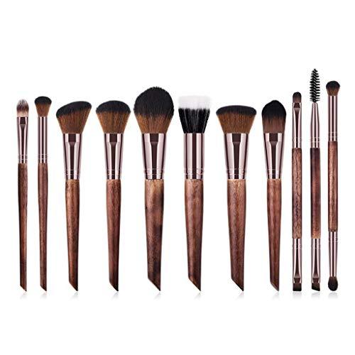Pinceau De Maquillage Brun en Bois, Ensemble De 11 Pinceaux pour Fard À Paupières Foundation Blush Foundation