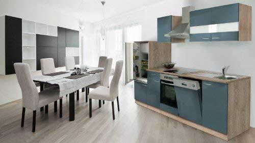 Respekta bloc-cuisine installation cuisine kB280ESGC economy 280 cm chêne gris avec réfrigérateur intégré, évier intégré et plaques de cuisson-hotte de lave-vaisselle