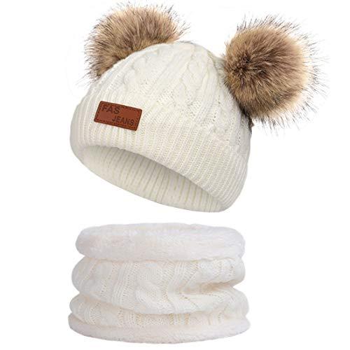 JFAN Sciarpa Invernale per Bambini in Maglia Doppia con Cappello Caldo A Forma di Palla di Pelo Cappello a Doppia Palla di Capelli + Sciarpa,Bianco