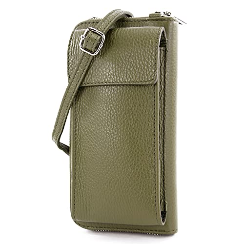modamoda de - P06 - ital. Damen Umhängetasche Geldbörse Handytasche Leder, Farbe:Olivgrün