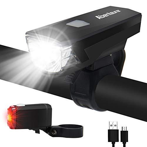 Abenteurer LED Fahrradlicht Set, Fahrrad Licht Wasserdict USB Wiederaufladbare 1200mAh Akku Fahrradbeleuchtung Vorne Rücklicht LED Set Wasserdicht Aufladbar Fahrradlampe Frontlicht 2 Licht-Modi
