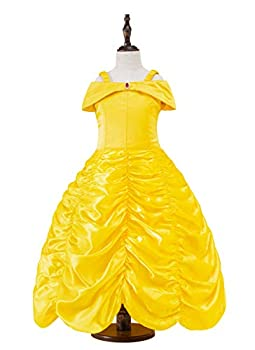 Juammy Princess Girls Party Costumes Belle Cosplay Yellow Dress&Crown,150 7-8 Years