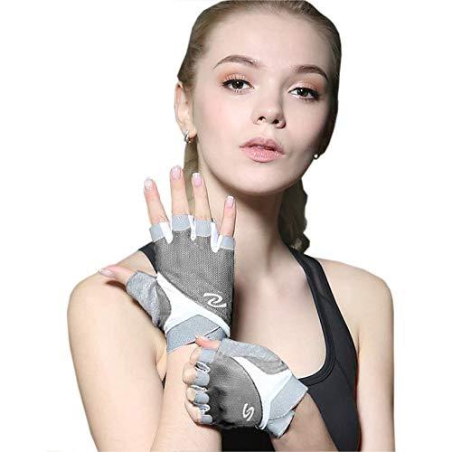 Luwint Women Fingerless Yoga Gloves Non Slip Padded - Barre Pilates Fitness Workout Training Wrist Exercise Accessories (Gray)