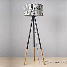 INFILM Round Wood Tripod Floor Lamp, Tall Survey Lamp with Wood Legs, Mid Century Modern Drum Shade Lamp for Living Reading Room Bedroom Offices