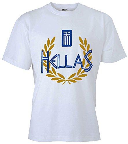 T-Shirt Griechenland Hellas Shirt Greece (XXL, Weiß)