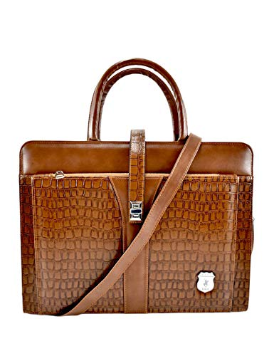 Califoria Polo Club Cheetah Laptop Bag Business Briefcase Shoulder Bag Travel Messenger Bag Large Tote up to 15.6 Inch (Brown)