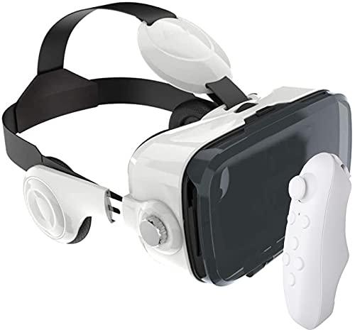 KJWXSGMM VR Auriculares Realidad Virtual Auriculares VR Gafas Gafas para Películas VR 3D Videojuegos para iPhone 12 para teléfonos Samsung y Android, con / 4.7-6.8in,Blanco