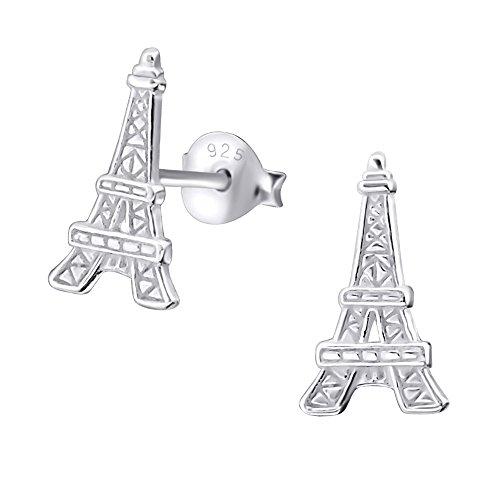 Laimons Pendientes para mujer Torre Eiffel Brillante Plata de ley 925