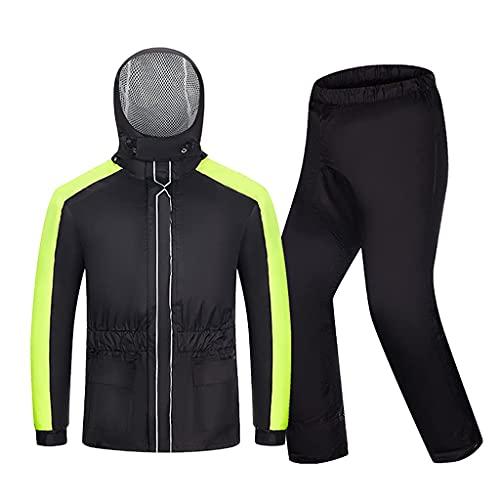 BHBXZZDB Men Cycling Rain Suit, Lightweight Rain Gear (Jacket + Trousers) Waterproof Windproof Hooded Raincoat for Bike Motorcycle Walking Work(Size:XXLarge)