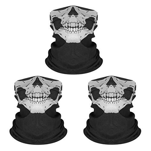 Kim Johanson Multifunktionstuch | Maske | Schlauchtuch | Sturmmaske | Bandana | Totenkopf Halstuch | Skelettmaske für Motorrad Fahrrad Ski Paintball Wandern Skull Waschbar (3 Stück)