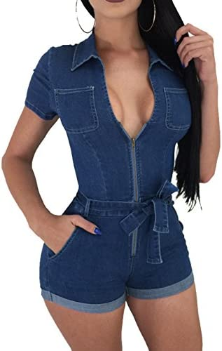 Imagine Womens Sexy Deep V Neck Zipper Up Belted Denim Jeans Club Shorts Jumpsuit Romper BE product image