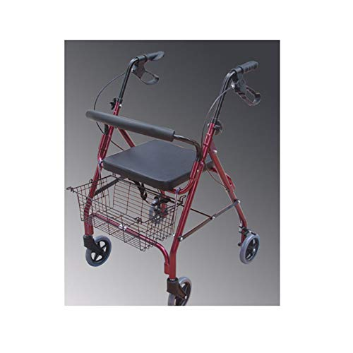 "YUEBAOBEI Walker 4 Wheeled Aluminium 2 in 1 Rollator Transport 6""Rollen Leichter Aluminium Klapprollator Korb Und Bremsen"