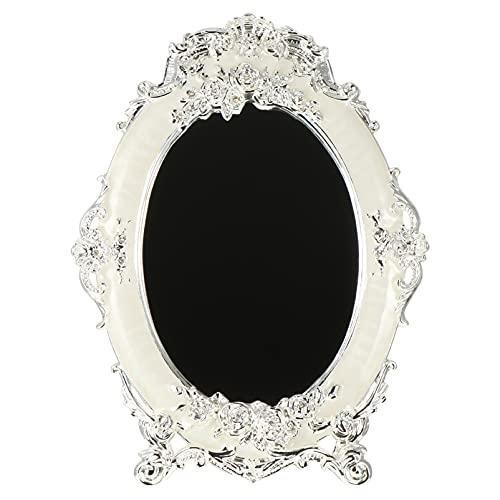 HEALLILY Espejo Antiguo Ovalado Flor Vintage en Relieve Espejos de Pie Libre Estilo Europeo Espejo Cosmético Decorativo para El Hogar Dormitorio