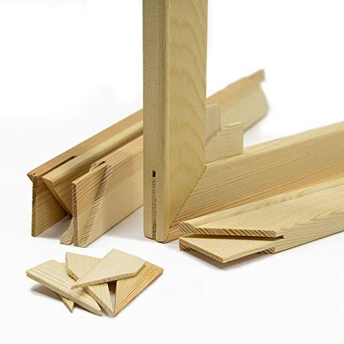 Keilrahmen-Set 90x60cm, Holz Keilrahmenleisten Bausatz zur Selbstmontage, Selbstbau ohne Leinwand, mit profilierten, gezapften Keilrahmenleisten mit Holzkeilen und Zwischenstegen je nach Größe
