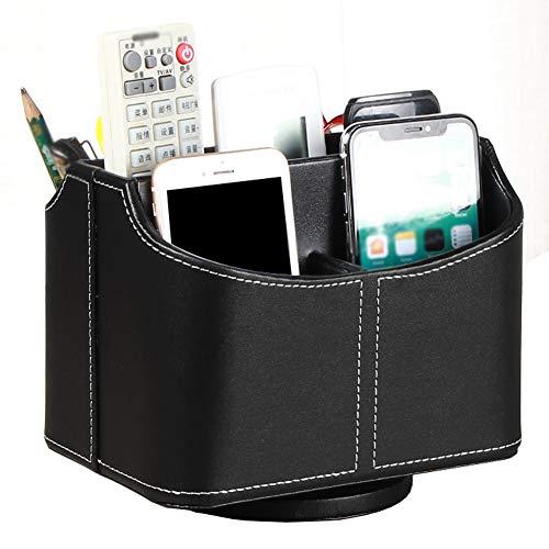 WDDLD Caja de Almacenamiento de papelería de Cuero, Almacenamiento de Porta bolígrafo Giratorio de 306 Grados para Caja de Ahorro de Oficina de Sala de Estar Black