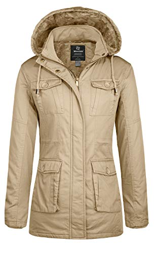 Wantdo Cappotto Invernale Caldo Overcoat Work Winter Giaccone Slim Fit Giacca con Cappuccio Donna Cachi Chiaro M