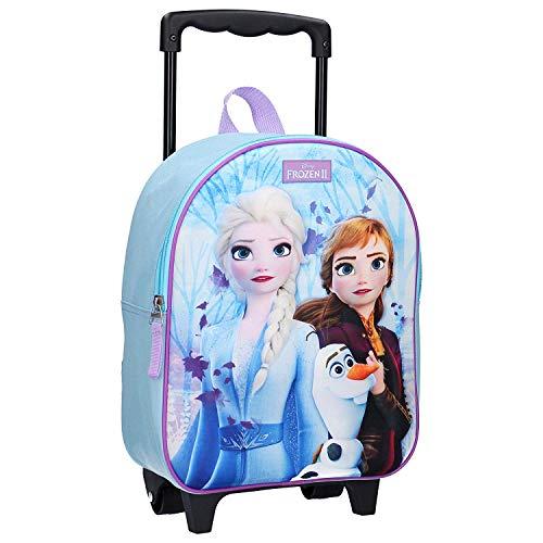 Frozen 2 Disney La Reine des Neiges 2 Sac à Dos à roulettes 3D Enfant - Elsa et Anna - Forest Spirit, Bleu, Frozen 2, Onesize
