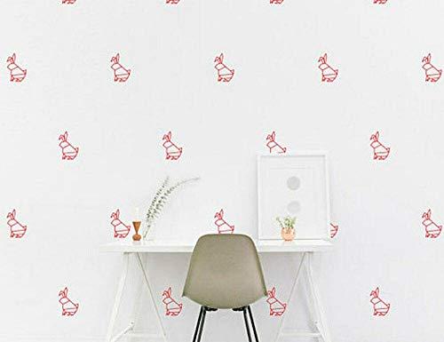 Pegatinas de pared en forma de conejo con origami animales Vanyl calcomanía guardería niños dormitorio hogar 60 x 90 cm