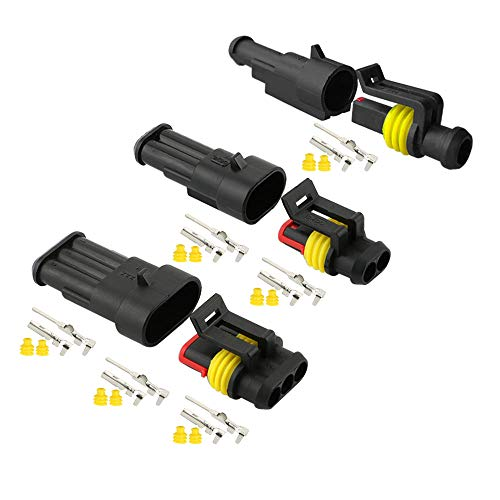 Aiqeer 20 Set Coche Impermeable Cable Eléctrico Conectores Kit, PA66 Nylon Impermeable Sellado Conector, Coche Impermeable Enchufe Conector, para Coche Motos (1 Pin, 2 Pin, 3 Pin)