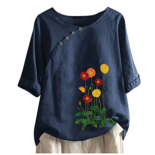 Binggong Damen Tshirt Blumen Druck LeinenshirtKurzarm Oberteile Elegant Rundhals Bunte Löwenzahn Drucken Basic Shirt Pullover Blusenshirt Hemd Bluse für Frauen Teenager Mädchen T-Shirts