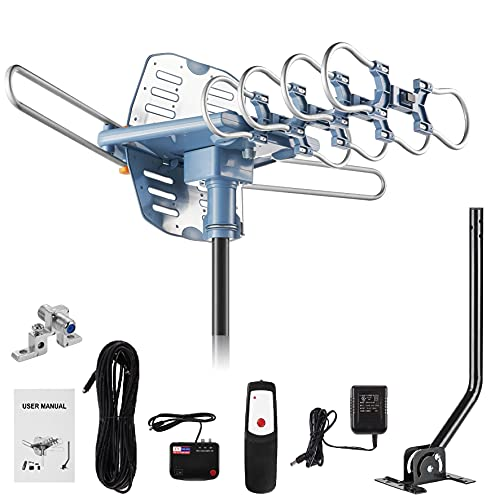 150 Miles Range Amplified Digital Outdoor TV Antenna with Mount Pole...