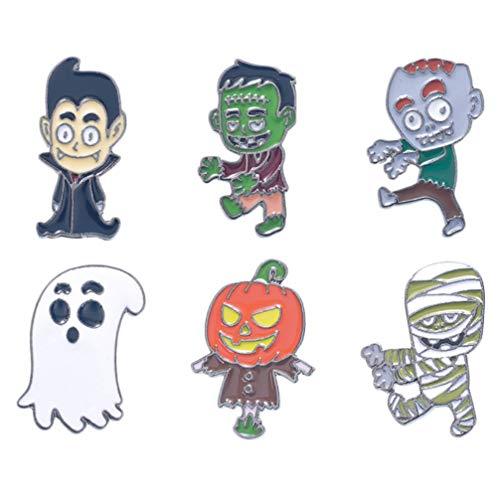 Happyyami 6 Stück Halloween Emaille Brosche Horror Geist Kürbis Anstecknadel Corsage Brustnadeln Abzeichen für Kleiderjacken Rucksäcke Taschen (Bunt)