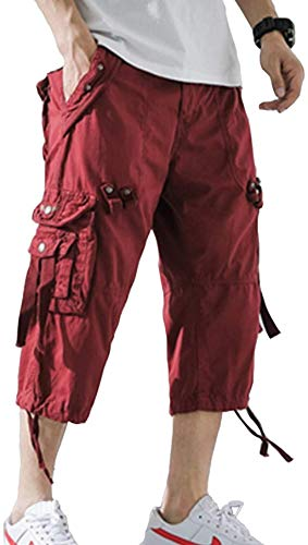 AOYOG Mens Cargo Shorts 3/4 Relaxed Fit Below Knee Capri Cargo Short Cotton Wine Red